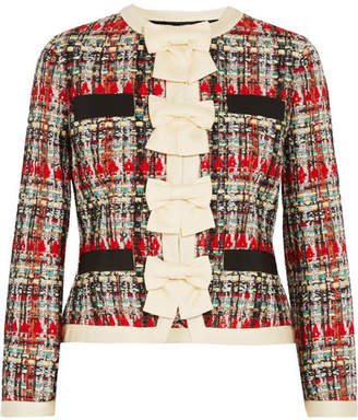 Gucci Silk-twill And Grosgrain-trimmed Metallic Tweed Jacket - Red