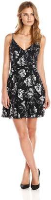 Eight Sixty Women's Flocked Floral Knit Fit and Flare Dress, Black/White