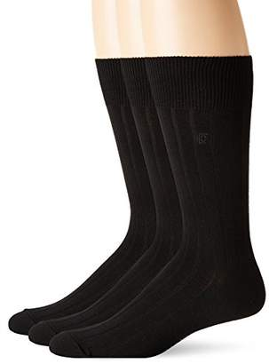 Chaps Men's Solid Rib Casual Crew Socks with Embroidered Logo (3 Pack)
