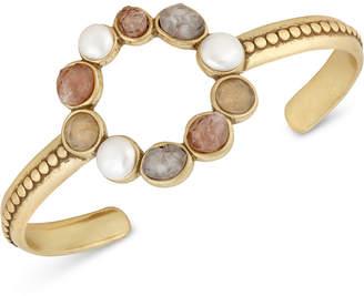 Lucky Brand Gold-Tone Druzy Stone & Imitation Pearl Circle Cuff Bracelet