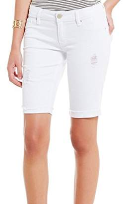 YMI Jeanswear Women's Luxe Single Button Raw Edge Roll Cuff Bermuda
