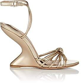 Salvatore Ferragamo Women's Sculpted-Heel Leather Ankle-Strap Sandals - Gold