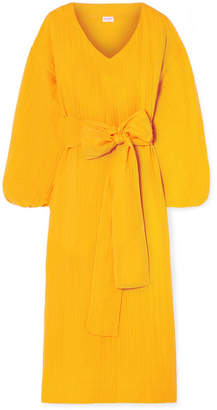 Rhode Resort - Delilah Crinkled Cotton-gauze Midi Dress - Yellow