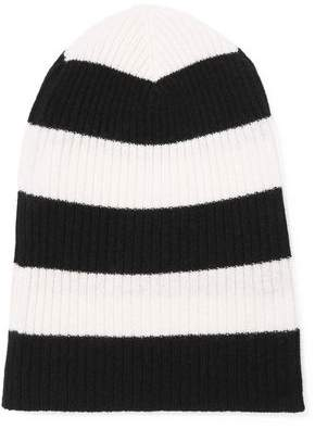 Autumn Cashmere Striped Ribbed Cashmere Beanie