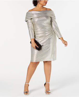 Betsy & Adam Plus Size Metallic Off-The-Shoulder Sheath Dress