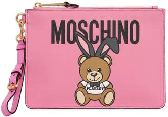 Moschino Teddy Playboy Faux Leather Pouch