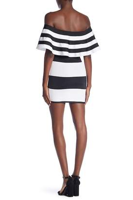 Wow Couture Off-the-Shoulder Striped Bandage Dress