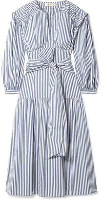 Sea Riveria Striped Cotton-blend Poplin Midi Dress - Blue