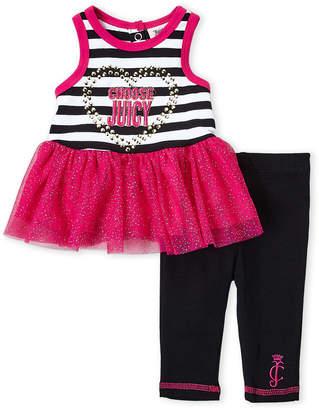 Juicy Couture Newborn/Infant Girls) Two-Piece Stripe Tutu Tank & Leggings Set