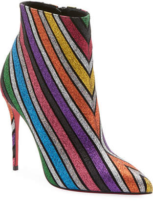 d116443a4cd0 Christian Louboutin So Kate 100 Stripey Glitter Suede Red Sole Booties