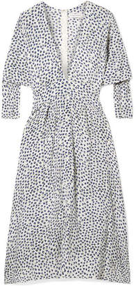 Faithfull The Brand Nina Belted Floral-print Crepe Midi Dress - Blue