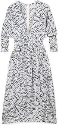 Faithfull The Brand Nina Belted Floral-print Crepe Midi Dress - Blue