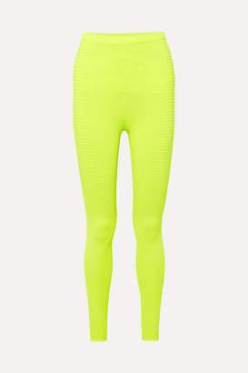 Adam Selman Neon Ribbed-knit Leggings