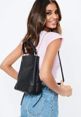 Missguided Black Chain Backpack, Black