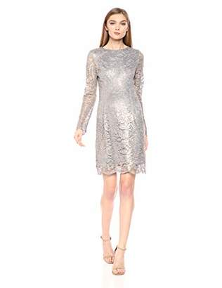 Dress the Population Women's Ash Long Sleeve Lace Short Mini Dress,XL