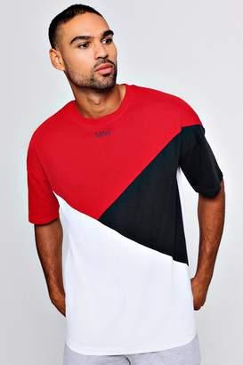 boohoo MAN Colour Block Drop Shoulder T-Shirt