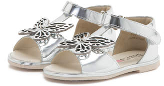 Sophia Webster Flutterby Metallic Leather T-Strap Flat Sandals, Silver, Toddler/Youth