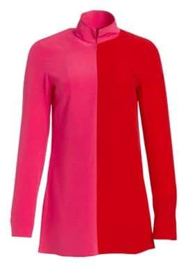 Akris Bi-Color Mockneck Silk Tunic