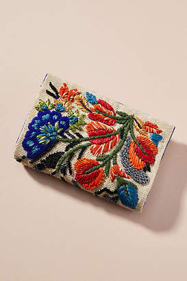Anthropologie Fanciful Florals Embroidered Clutch