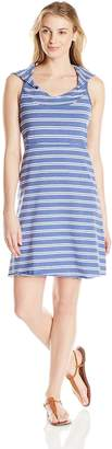 Andrew Marc Performance Women's Hooded Thick Thin Stripe Dress with Shelf Bra