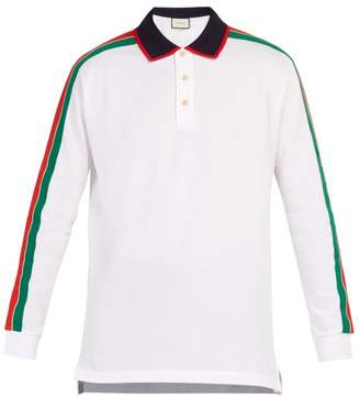 Gucci Web Stripe Long Sleeved Cotton Pique Polo Shirt - Mens - White Multi