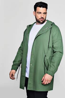 boohoo Big And Tall Lightweight Fishtail Hooded Parka