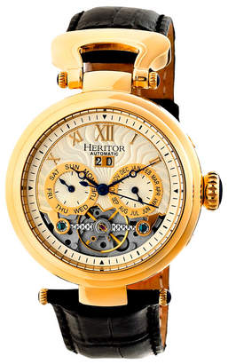 Heritor Automatic Ganzi Gold & Silver Leather Watches 44mm