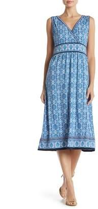 Max Studio Printed Surplice Midi Dress