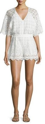Red Carter Rue Lace Romper Coverup, White $220 thestylecure.com