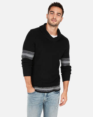 Express Shawl Neck Stripe Sleeve Sweater
