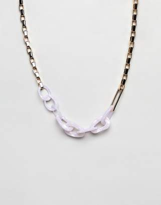 Asos Design DESIGN statement necklace with oversized resin and metal link chain in gold