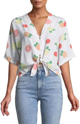 Rails Thea Citrus-Print Silk Tie-Front Top