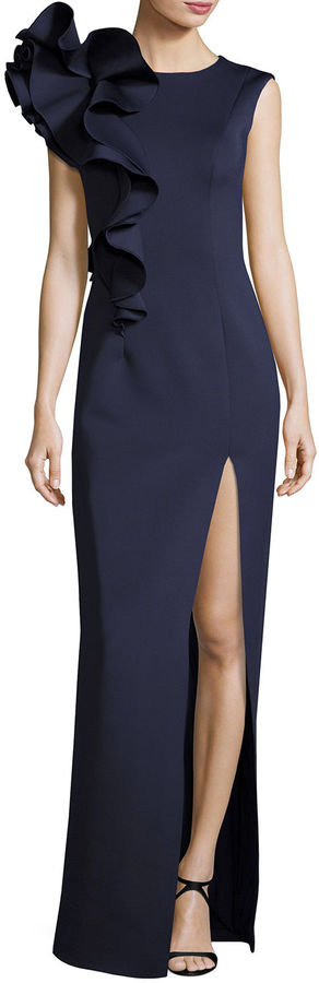 Jovani Sleeveless Ruffle-Trim Crepe Column Gown 3