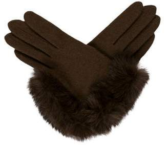 Portolano Fur-Trim Knit Gloves w/ Tags