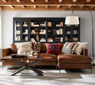 Pottery Barn Jake Leather Sofa with Chaise Sectional