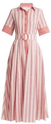 Gül Hürgel Gul Hurgel - Belted Striped Linen Blend Dress - Womens - Pink Stripe