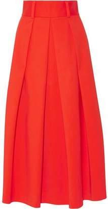 Tibi Agathe Pleated Scuba Midi Skirt