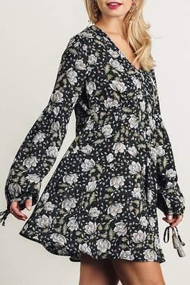 Umgee USA Black-Floral Tulip-Print Dress