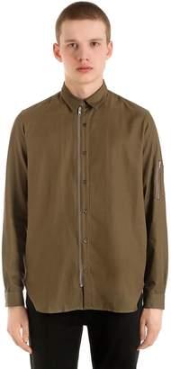 The Kooples Zip-Up Fluid Cotton Blend Shirt