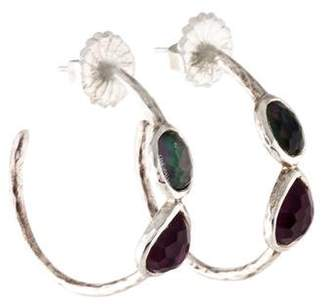 Ippolita Mother of Pearl & Quartz Two Stone Gelato Hoop Earrings