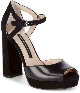 French Connection Women's Ankle Strap Textile Block Heels