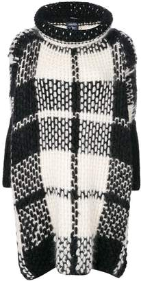 Woolrich checked turtle neck cape