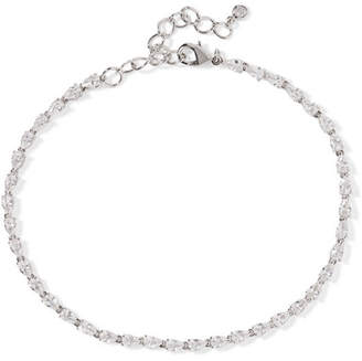 Kenneth Jay Lane Rhodium-plated Cubic Zirconia Anklet - Silver