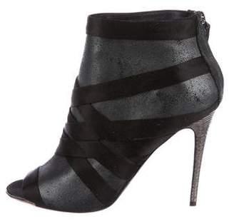 Devi Kroell Suede Peep-Toe Ankle Boots