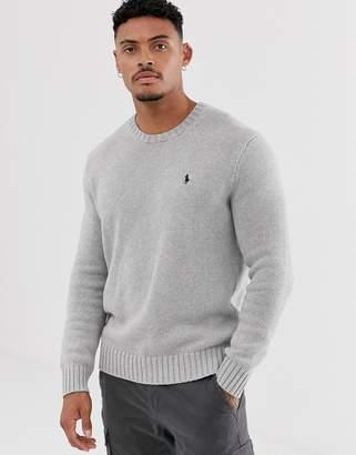 Polo Ralph Lauren icon logo cotton crew neck jumper in grey