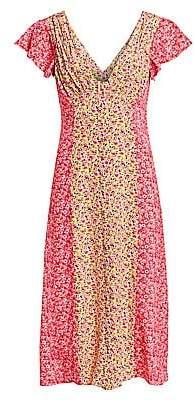 Cinq à Sept Women's Jessica Colorblock Floral Short-Sleeve Dress