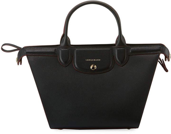 Longchamp Le Pliage Heritage Medium Leather Tote Bag, Black - BLACK - STYLE
