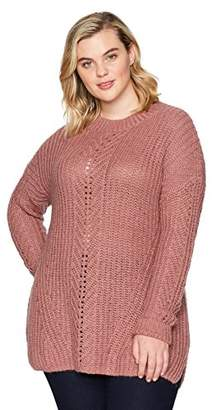 Lucky Brand Women's Open Stitch Pullover Plus-Size Sweater