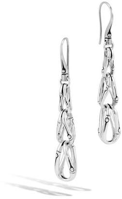 John Hardy Bamboo Loop Link Drop Earrings