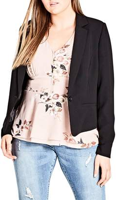 City Chic Flutter Lace Back Blazer